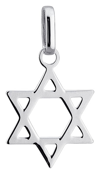 Pendentif or blanc Croix de David