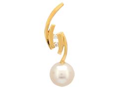 Pendentif or jaune, perle et diamants