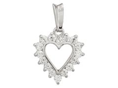 Pendentif Coeur or blanc et oxydes de zirconium
