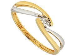 Solitaire or bicolore et diamant