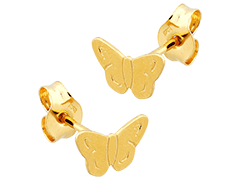 Boucles doreille or jaune Papillon