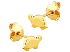 Boucles doreille or jaune Tortue