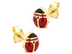 Boucles doreille or jaune Coccinelle