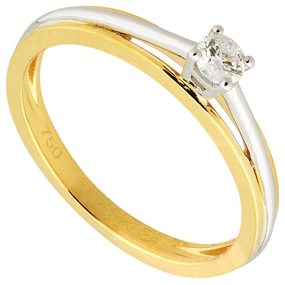 Solitaire or bicolore et diamant 0.15 ct