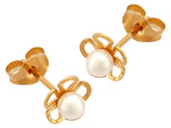 Boucles doreille Fleur or jaune et perle