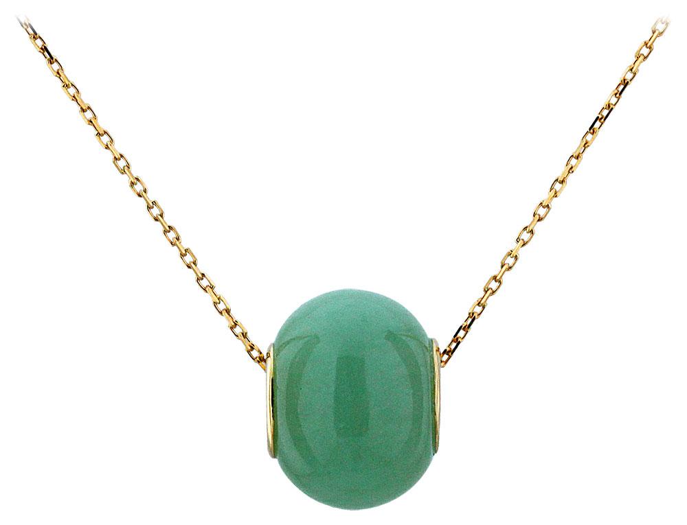Collier or jaune et jade