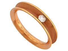 Solitaire or rose et diamant 0.10 carat