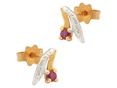 Boucles doreille or bicolore et rubis