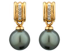 Boucles doreille or bicolore et perle de Tahiti
