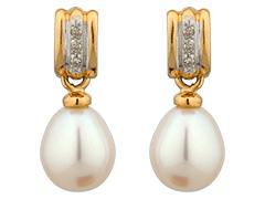 Boucles doreille or bicolore et perle