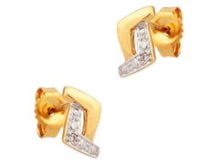 Boucles doreille or bicolore et diamant