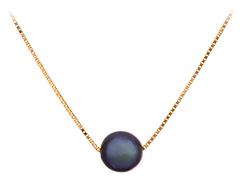 Collier or jaune et perle de Tahiti