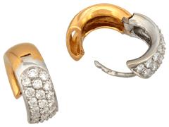 Boucles doreille or bicolore et diamants