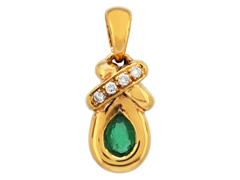 Pendentif or jaune, émeraude et diamants