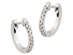 Créoles or blanc et diamants 15 mm