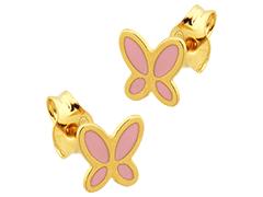 Boucles doreille or jaune et laque Papillon