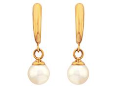 Boucles doreille or jaune et perle