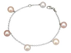 Bracelet or blanc et perles
