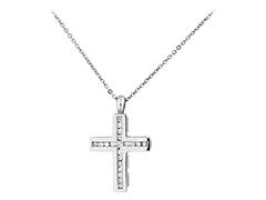 Collier or blanc et diamants Croix