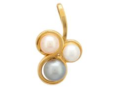 Pendentif or jaune et perles