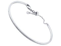 Bracelet rigide argent rhodié et oxydes
