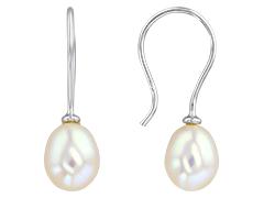 Boucles doreille or blanc et perle