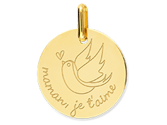 Médaille or jaune Colombe