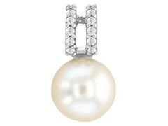 Pendentif or blanc et perle