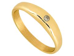 Bague or jaune et diamant jonc anglais