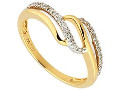 Bague or bicolore et diamants 0.13 ct