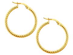 Créoles or jaune torsadées 24 mm