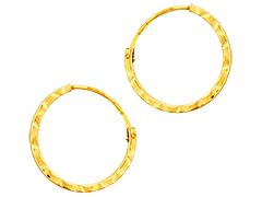 Créoles or jaune biseautées 14 mm