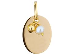 Médaille or jaune et perle