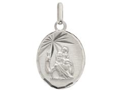 Médaille Saint Christophe or blanc