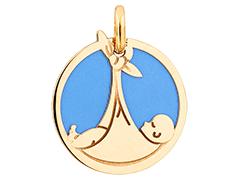 Médaille or jaune et acier Bébé