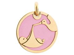 Médaille or jaune et acier Cigogne