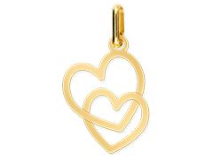 Pendentif or jaune Double Coeur