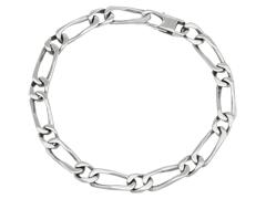 Bracelet acier maille alternée