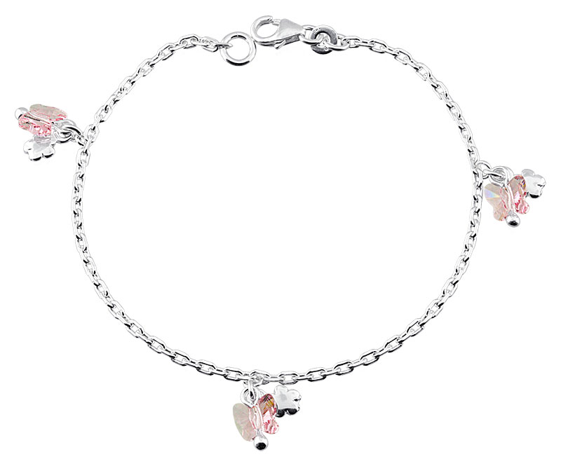 Bracelet argent rhodié Papillon rose