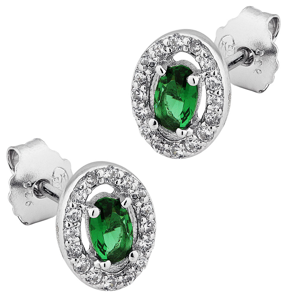 Boucles doreille argent pierre verte