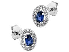 Boucles doreille argent pierre bleue