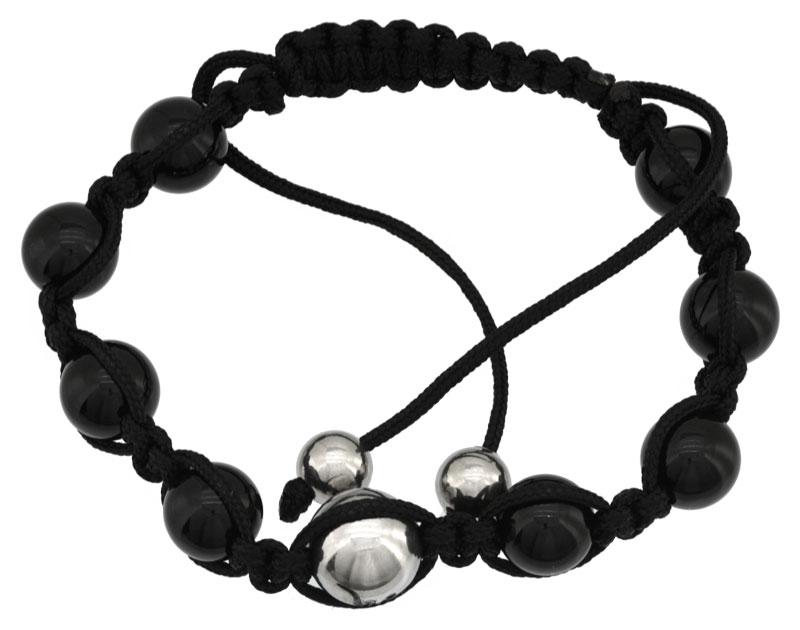 Bracelet Shamballa acier et pierres de synthèse
