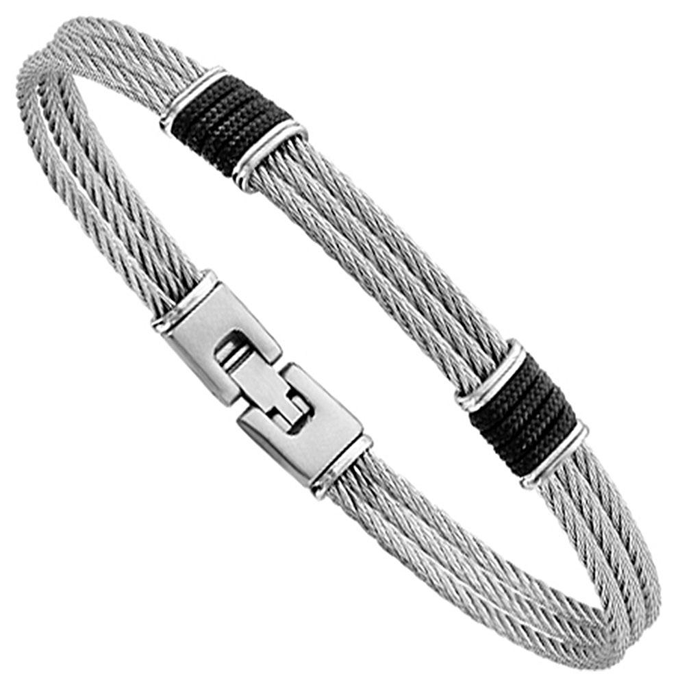 Bracelet acier et tissu noir