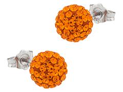 Boucles doreille argent et strass orange