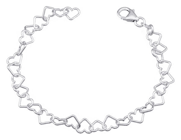 Bracelet argent Coeurs