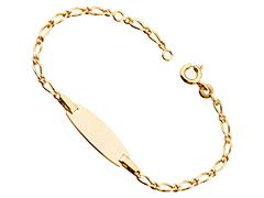 Bracelet identité plaqué or 15 cm