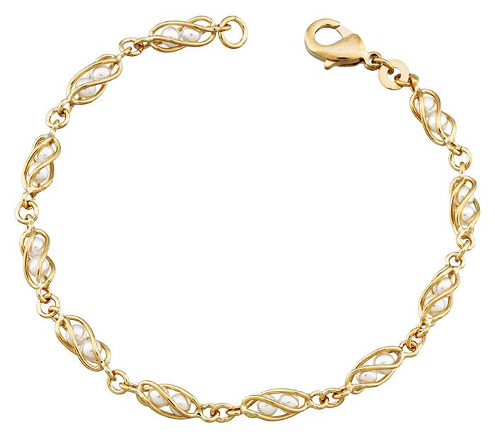 Bracelet plaqué or et perles de synthèse