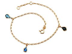 Chaîne de cheville plaqué or et pierres bleues