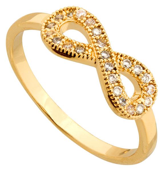 Bague plaqué or et oxydes Infini