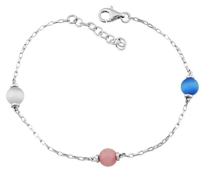 Bracelet argent pierre multicolores